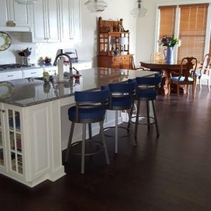 kitchen island with blue bar stools