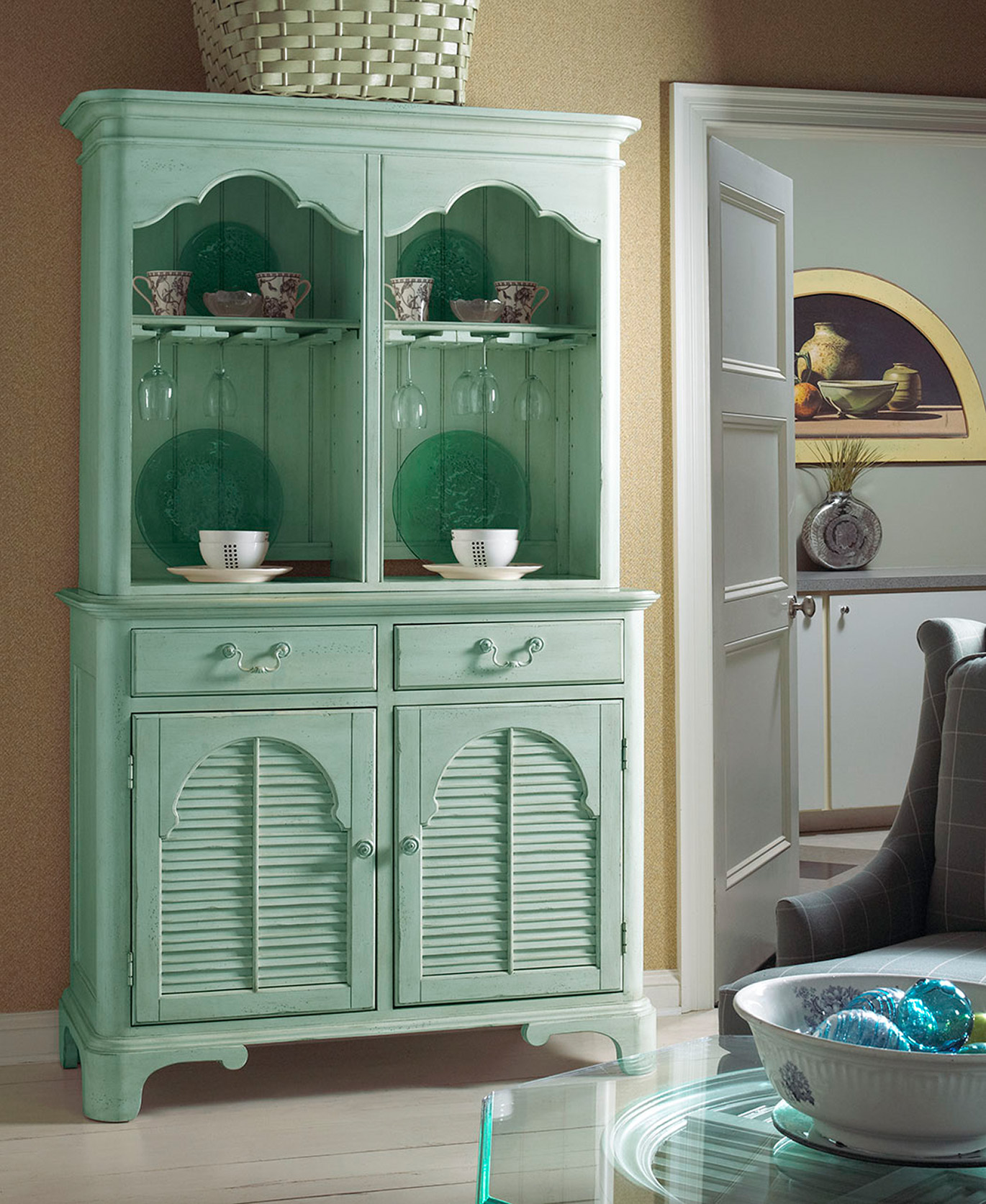 FFDM Teal China _ Wine Cabinet