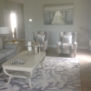 Coral blue and white living room task