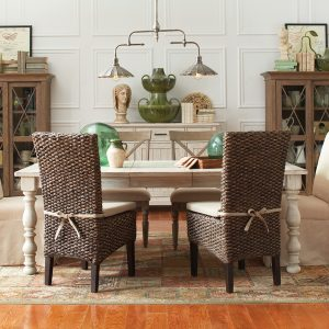 dining table with seagrass chairs