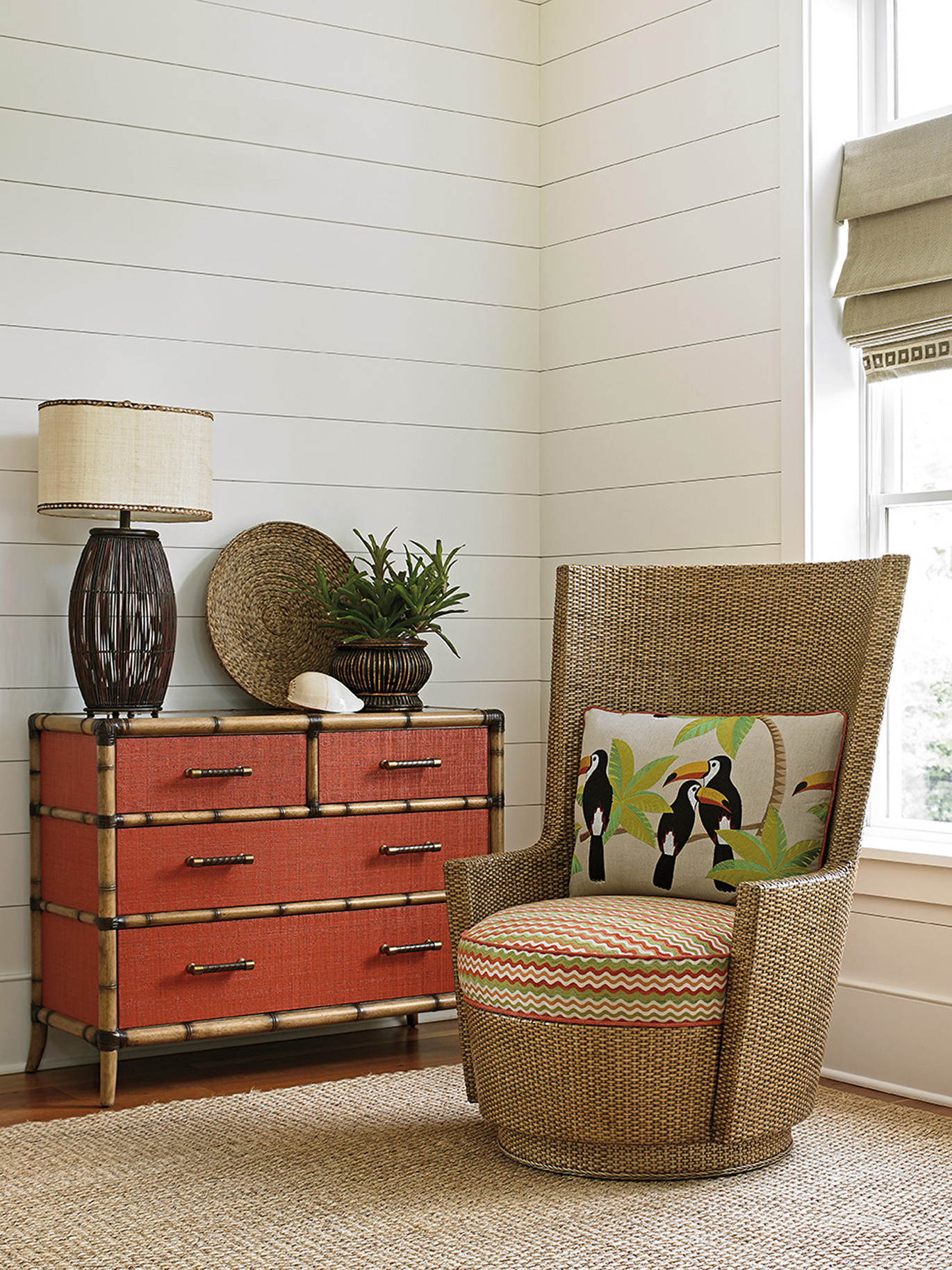 Twin Palms Red Coral Chest _ chair