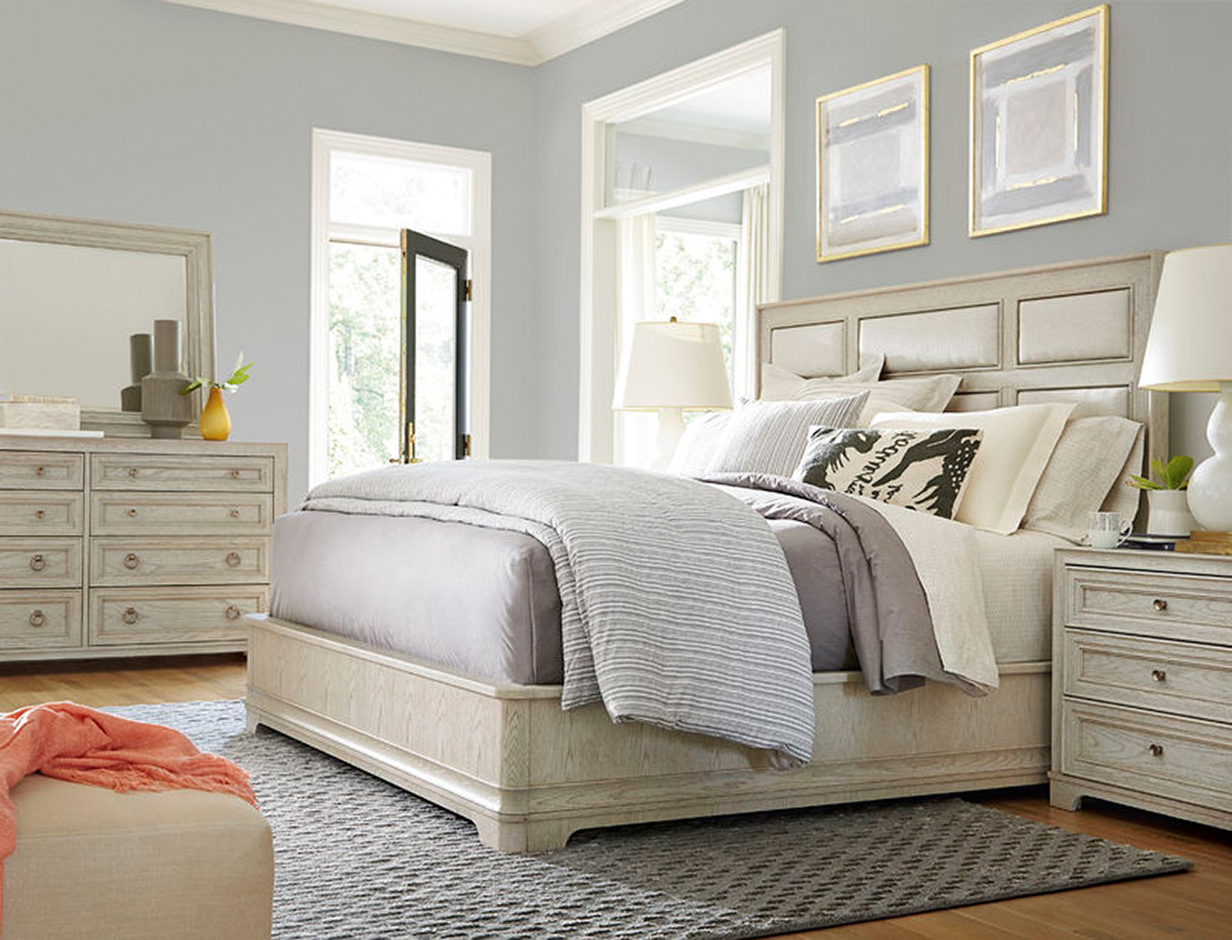 Universal upholstered Panel King Bed
