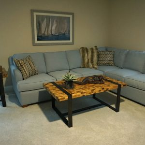 blue Sectional couch in living room