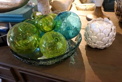 glass balls in bowl and candle holder