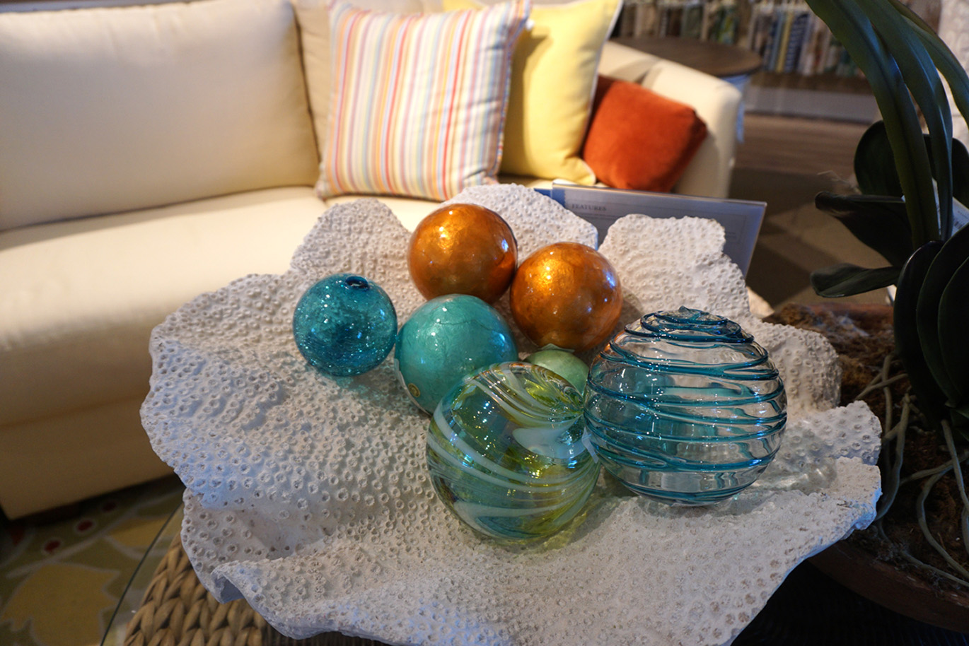 glass balls in coral dish