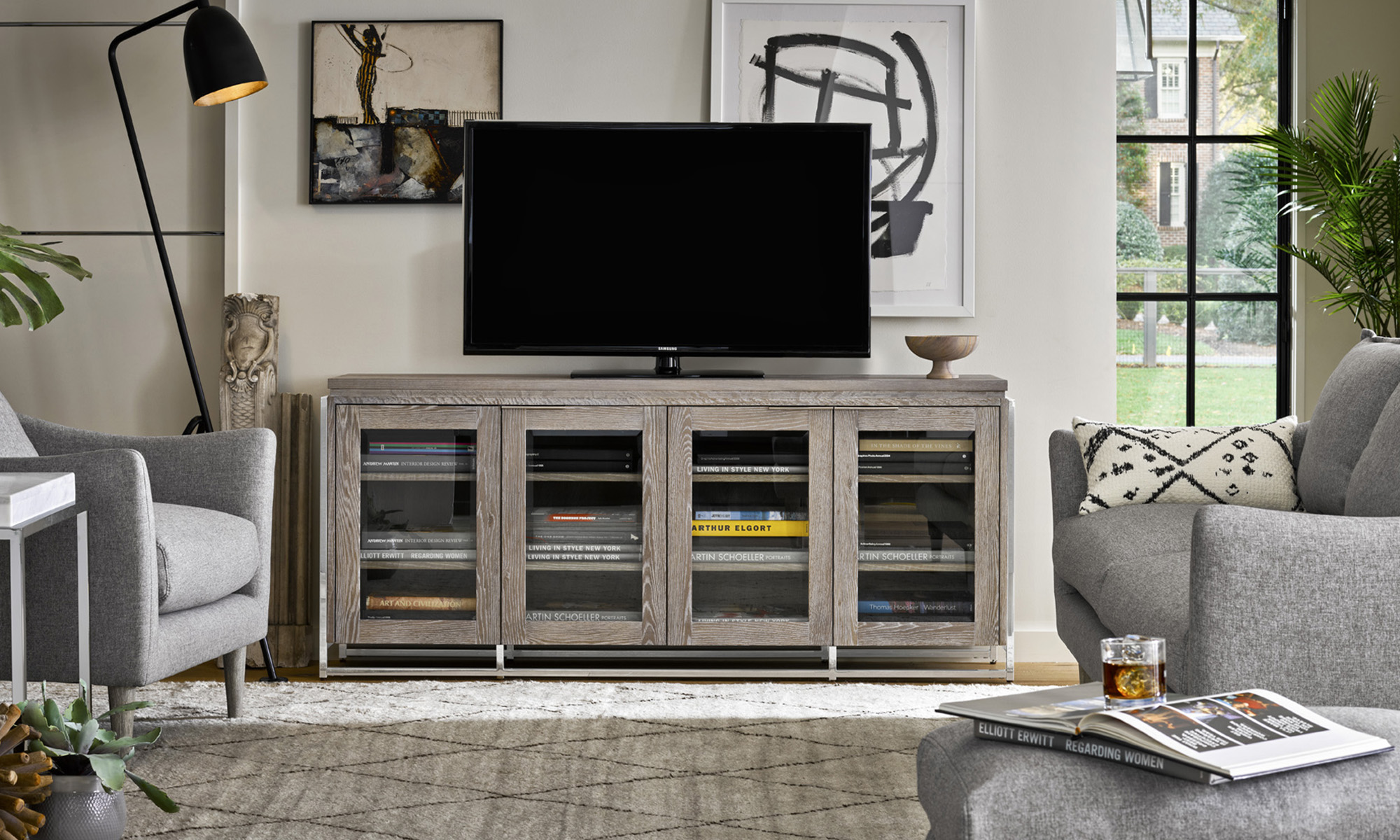 Modern Quartz Entertainment Console. Dining Room Furniture