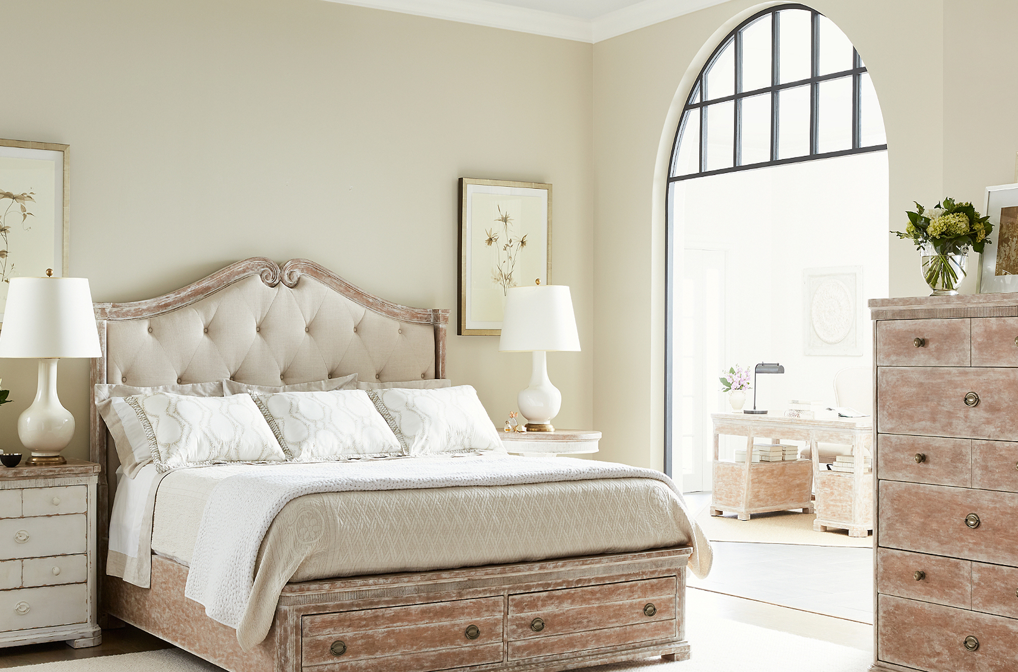 English Clay Upholstered king bed