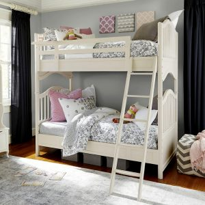 white bunk beds