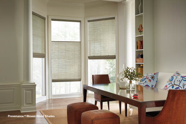 dining room with shades on windows