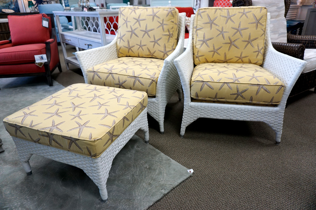 Caribe Pensacola Woven Chairs And Ottoman
