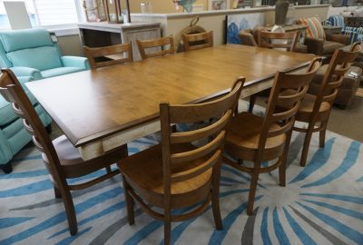 Canadel Oak Wash Dining Table with 8 Chairs
